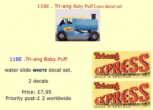 11BE . Tri-ang Baby Puff Loco decal set